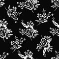 Abstract flowers seamless pattern, floral background, monochrome, coloring book. Fantasy white on black backdrop. For