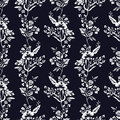Abstract flowers seamless pattern, floral monochrome vector background. Fantasy white on a dark blue backdrop. For the