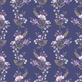 Abstract flowers seamless pattern, floral vector background. Fantasy multicolored in pastel tones on a purple backdrop