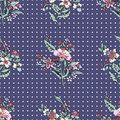 Abstract flowers seamless pattern, floral vector background. Fantasy multicolored and polka dot. For the design of the