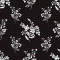 Abstract flowers seamless pattern, floral vector background. Fantasy white on black and red polka dot. For the design