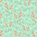 Abstract flowers seamless pattern, outline drawing, minimalistic illustration, vector background. Pink closed flower buds, stalks Royalty Free Stock Photo