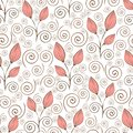 Abstract flowers seamless pattern, outline hand drawing, minimalistic illustration, vector background. Pink closed flower buds, st Royalty Free Stock Photo