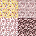 Abstract flowers seamless patterns wedding lace backgrounds set floral Stock Image