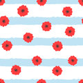 Abstract flowers on striped background. Floral seamless pattern. Royalty Free Stock Photo
