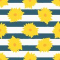 Abstract flowers on striped background. Stylish floral seamless pattern. Royalty Free Stock Photo