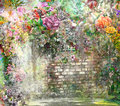 Abstract flowers on Wall watercolor painting. Spring multicolored flowers illustration