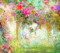 Abstract flowers watercolor painting multicolored flowers illustration