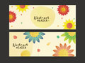 Abstract flowers web header or banner set colorful creative decorated website for your business Royalty Free Stock Photo