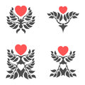 Abstract foliate elements with red heart.