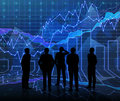 An abstract Forex graph room in blue with people siluet Royalty Free Stock Photo