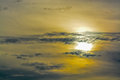 The abstract formation and texture of the clouds over and around the sun. Above the Gulf of Mexico in florida Royalty Free Stock Photo