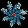 Abstract fractal art blue symmetric snow flake red center