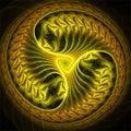 Abstract fractal art yellow futuristic wheel