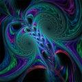 Abstract fractal art light fantastic shapes blue green violet