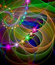 Abstract, fractal, computer-generated image of multicolored arches and curves on a dark background