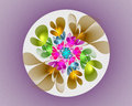 Abstract fractal design. Flower in circle on violet. Royalty Free Stock Photo