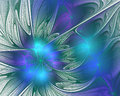 Abstract fractal design. Flower petals in blue. Royalty Free Stock Photo