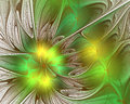 Abstract fractal design. Flower petals in green. Royalty Free Stock Photo