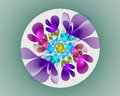 Abstract fractal design. Neon flower in circle. Royalty Free Stock Photo