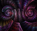 Abstract fractal fantasy magenta  spiral pattern of shell. Royalty Free Stock Photo