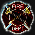 Abstract fractal fire department maltese cross badge or symbol with axes Stock Photos