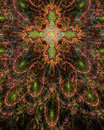 Abstract fractal floral cross symbol background in glowing sepia tinted orange,green and pink Royalty Free Stock Photo