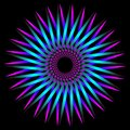 Abstract fractal pattern in the shape of a flower star. fractal star grid vector image with circular transitions. purple blue Royalty Free Stock Photo