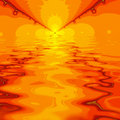 Abstract fractal sunset or sunrise over water Stock Photo