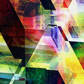 Abstract futuristic background with geometric shapes and spectral rays reminiscent of modern architecture Royalty Free Stock Photo