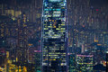 Abstract futuristic night cityscape hong kong with illuminated skyscrapers aerial view panorama Stock Photo