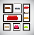 Abstract gallery background with sofa icon set vector illustrati illustration eps Stock Photo