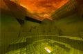 Abstract gateway to underworld with dark sky