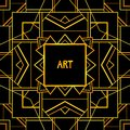 Abstract geometric art patterned background s style vector illustration for luxury design golden and black colors symmetry Stock Photo