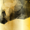 Abstract geometric background with black polygons transparent dotted pattern and metallic golden base Stock Image