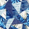 Abstract geometric background in marine style. Watercolor triangle seamless pattern