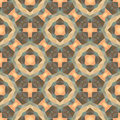 Abstract geometric background - seamless vector pattern in pink, beige, brown and green colors. Ethnic boho style. Mosaic ornament