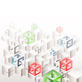 Abstract geometric background with white cubes and frames three dimensional eps Stock Photography