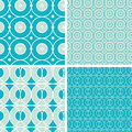 Abstract geometric circles seamless patterns set vector in matching color scheme Royalty Free Stock Image