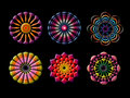 Abstract geometric doily ornament on black background