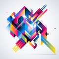 Abstract geometric element with colorful gradients and glowing lights.