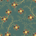 Abstract geometric flowers seamless pattern. Floral background. Royalty Free Stock Photo