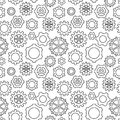 Abstract geometric gear black and white graphic cog wheel patter Royalty Free Stock Photo