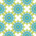 Abstract geometric mosaic background. Geometric seamless spirograph pattern in blue and green colors. Vector illustration. Design