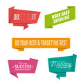 Abstract geometric origami speech bubbles set with motivational quotes. Vector illustration. Royalty Free Stock Photo