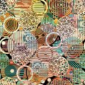 Abstract geometric pattern of circles graphic multicolored different textural Stock Photography