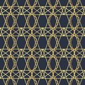 Abstract geometric pattern with lines. A seamless vector background. Dark blue and gold texture. Polygonal seamless background