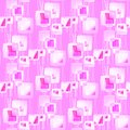 Abstract geometric seamless background. Regular intricate squares pattern with wavy lines pink, violet, magenta and white overlyin Royalty Free Stock Photo