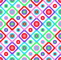 Abstract geometric seamless floral pattern vector background patchwork style design with colorful squares and  spring summer flow Royalty Free Stock Photo