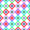 Abstract geometric seamless floral pattern vector background patchwork style design with colorful squares and  spring summer flowe Royalty Free Stock Photo
